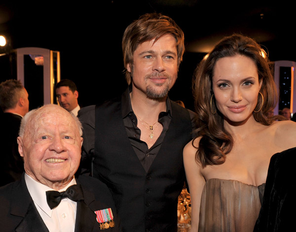 backstage Mickey Rooney and Brad Pitt at Screen Actors Guild Awards at the Shrine Auditorium on January 27, 2008 in Los Angeles, California.