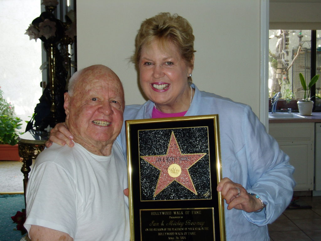 Mickey Rooney and Jan Rooney with Hollywood Walk of Fame Star Plaque.