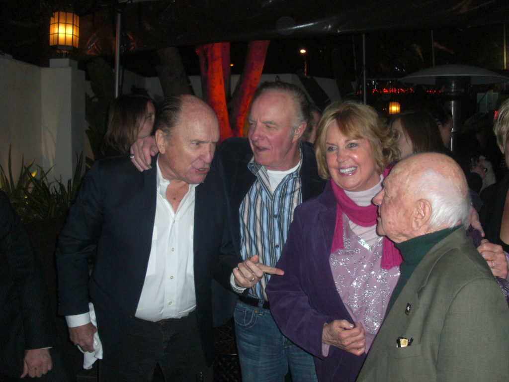 Robert Devall, James Caan, Jan Rooney and Mickey Rooney at a party honoring Quinten Tarantino at the Hollywood's Chateau Marmont .